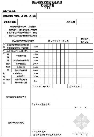 焦炉砖砌体工程检验批质量验收记录表