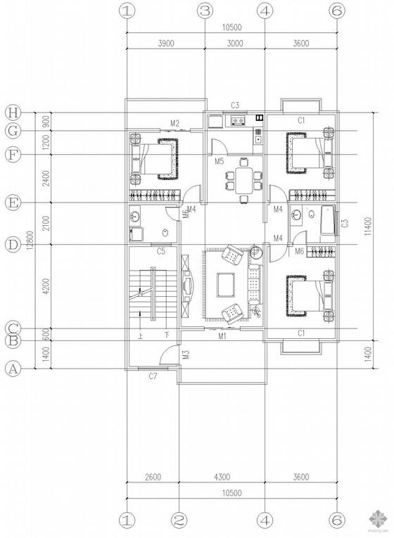 板式多层一梯两户三室一厅二卫户型图(126/126)
