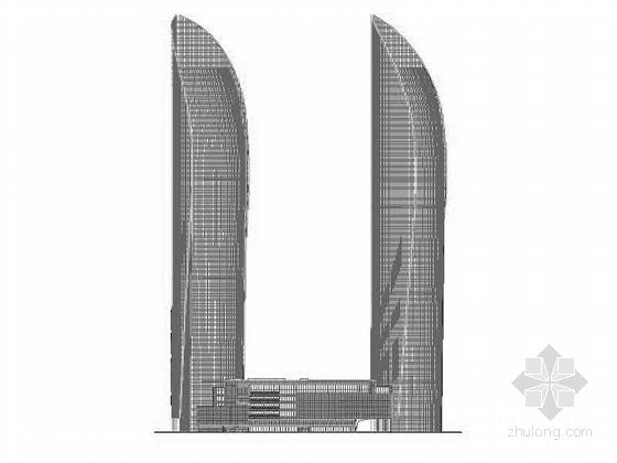 [福建]250米玻璃幕墙双塔商业办公综合体建筑施工图( 地标建筑 中国第一双子塔)