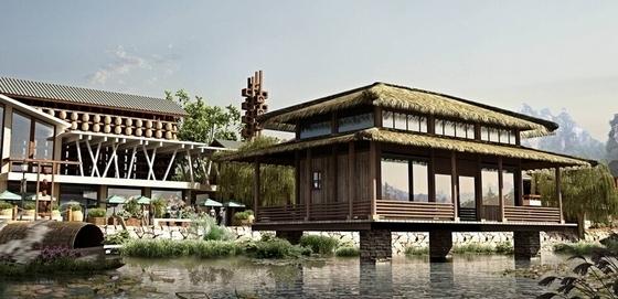 传统民居住宅区规划设计鸟瞰图