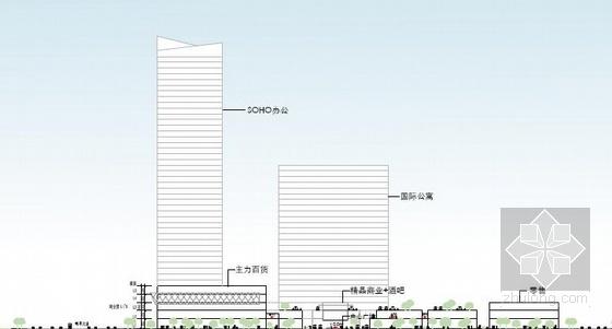 [武汉]超高层一梯四户塔式花园住宅楼建筑设计方案文本(含两套方案)-超高层一梯四户塔式花园住宅楼建筑剖面图
