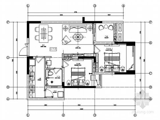 [重庆]现代时尚两室一厅室内装修施工图
