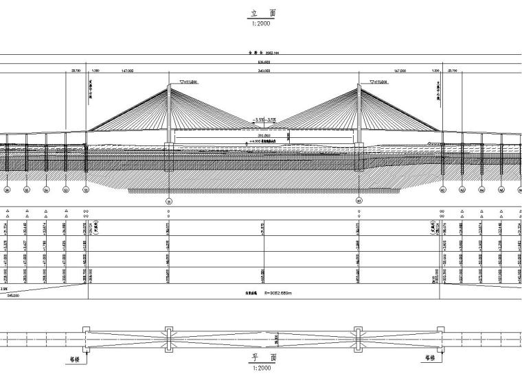 双塔双索面三跨预应力混凝土梁斜拉桥上部结构施工图设计85张