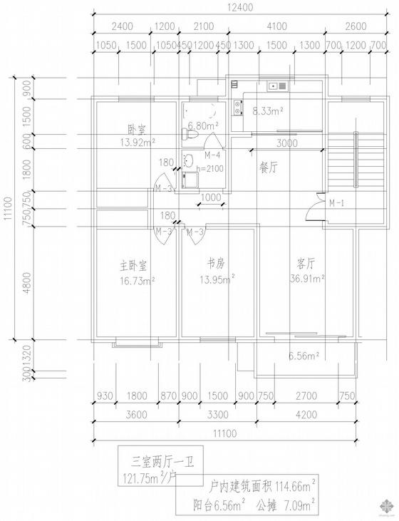 板式多层一梯二户三室二厅一卫户型图(122/122)