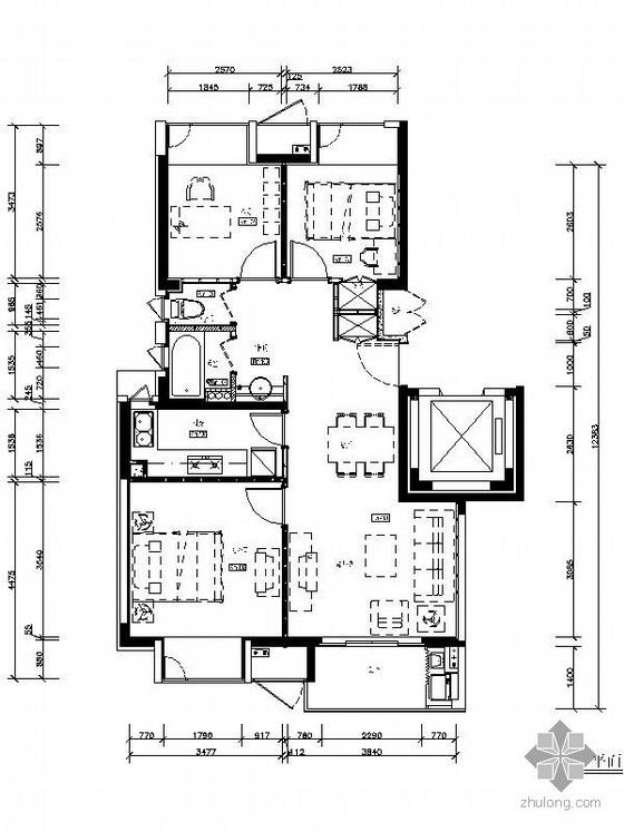 万科90平米三室两厅A级标准装修(平面)