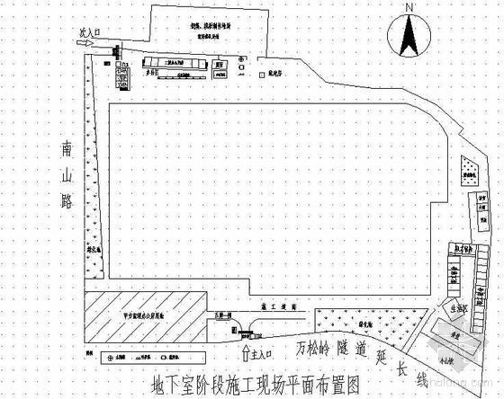 浙江某展览馆地下室施工阶段平面布置图