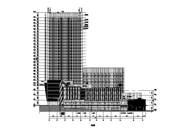 [福建]高层现代穿插式商业综合体建筑设计方案文本(含效果图)-高层现代穿插式体块商业综合体建筑立面图
