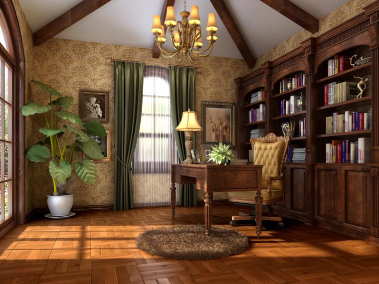 欧式明亮书房3D模型下载