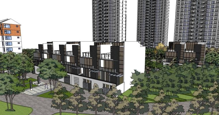 中式风格居住区精细景观模型_5