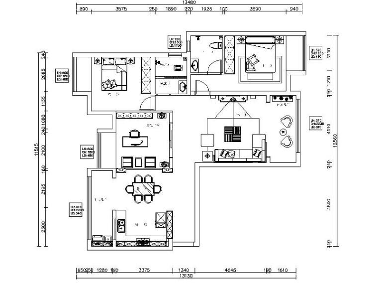 [湖南]简约欧式温馨三居室样板房室内设计施工图(含效果图)