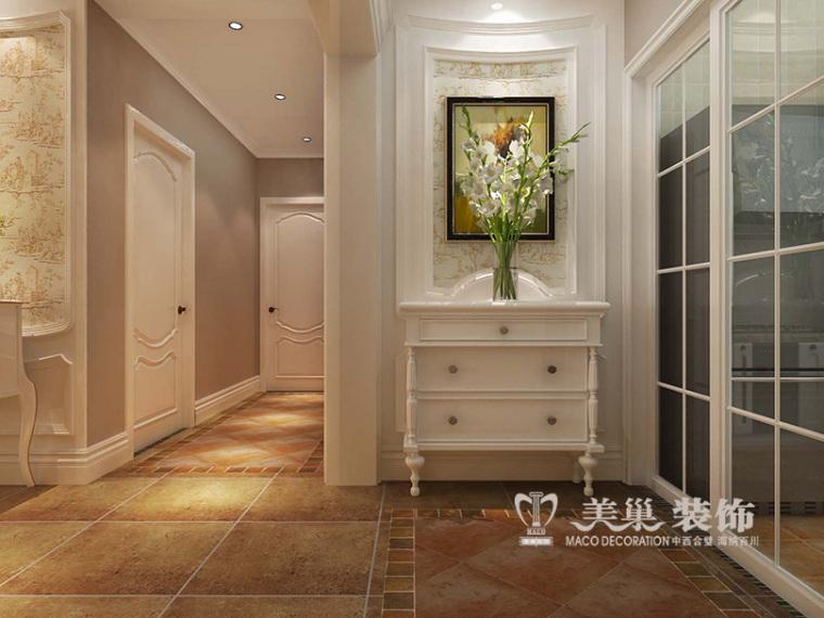 天伦锦城120平美式装修,暖清色调惬意美好三居室