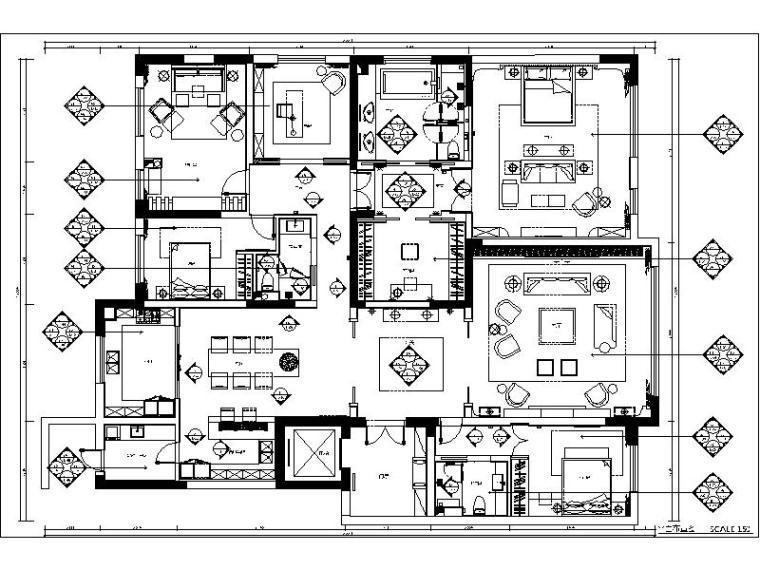 [深圳]简约风格样板间设计施工图(含效果图)