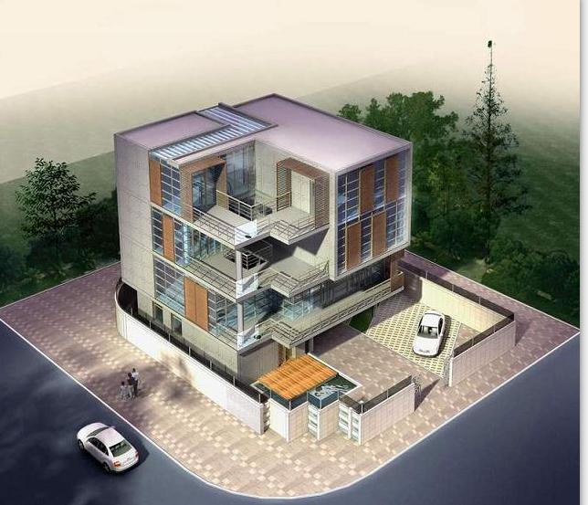 现代风格别墅建筑方案设计(包含效果图+CAD)