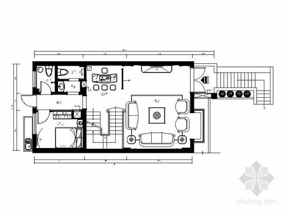 [福州]优雅花园5层别墅豪宅室内设计施工图(含效果图)