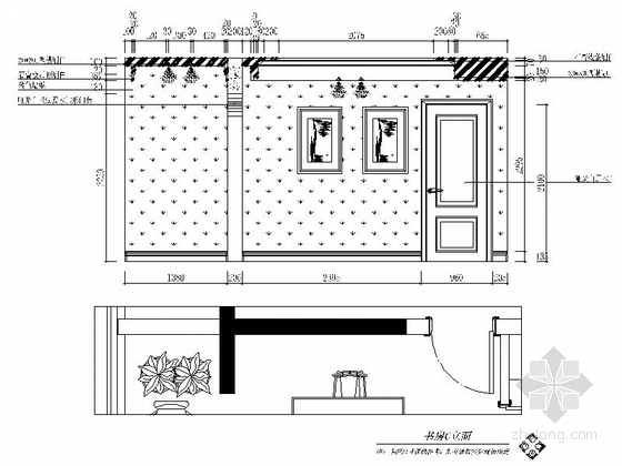 名师设计简欧风情跃层样板间CAD装修施工图(含效果)书房立面图