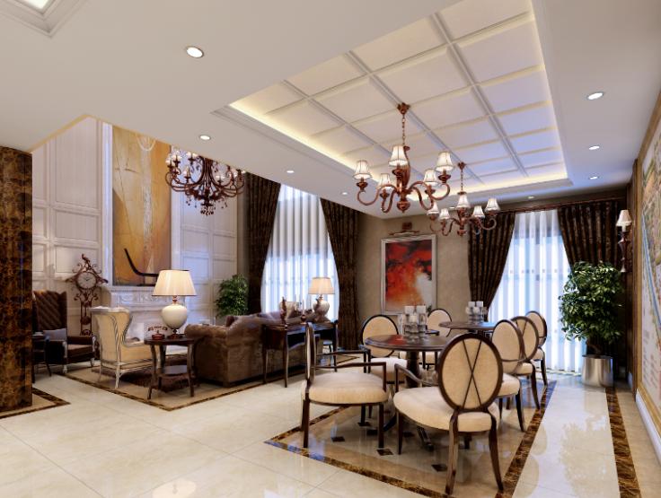 雅安三层豪华别墅室内设计施工图(含效果图)-客厅效果图