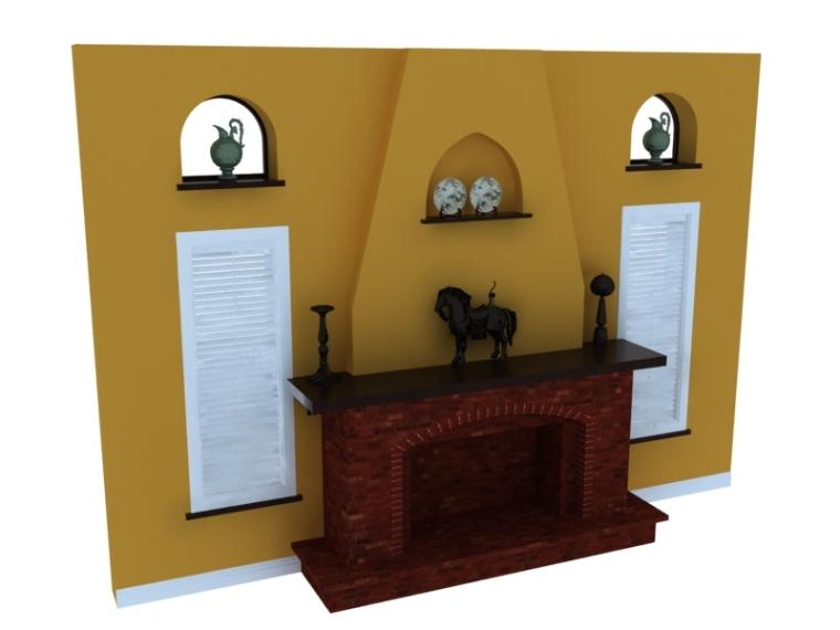 地中海电视墙3D模型下载