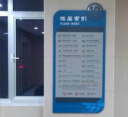 陕西省第四人民医院 楼层索引标牌(荣辉标识设计制作)-医院标识导
