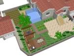 小庭院景观模型分享