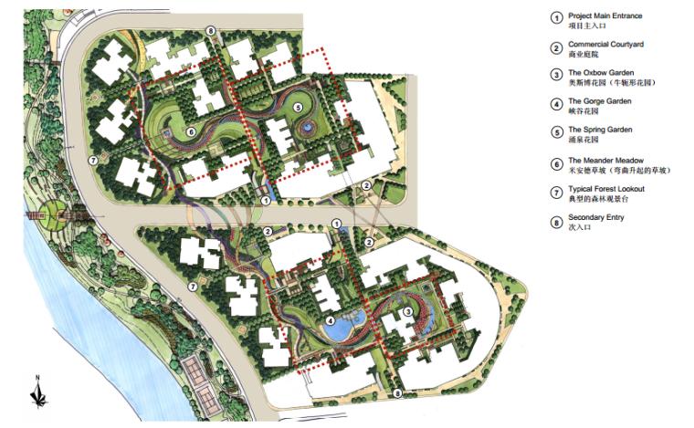 """[四川]""""河流""""概念高档生态居住型社区景观规划设计(附CAD)"""