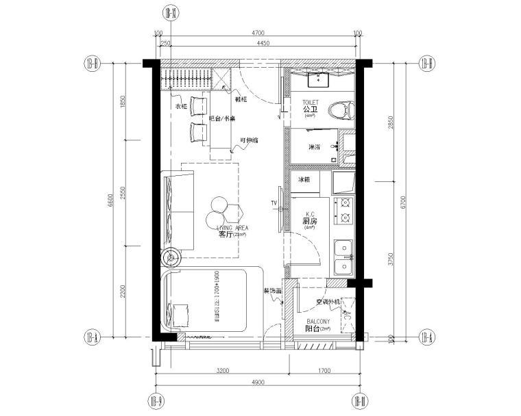 [深圳]MYP-笋岗国际物流公寓5个户型样板房CAD施工图+设计方案
