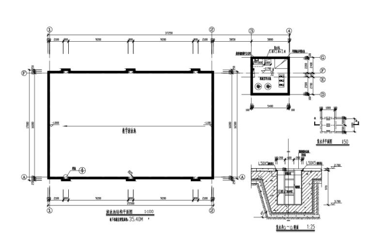 [深圳]框架结构学校游泳馆建筑结构施工图(CAD、8张)