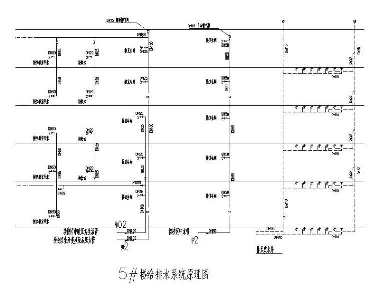 厦门大学翔安校区主楼群(1245#楼)初步设计文件(给排水工程)-5#楼给排水系统原理图