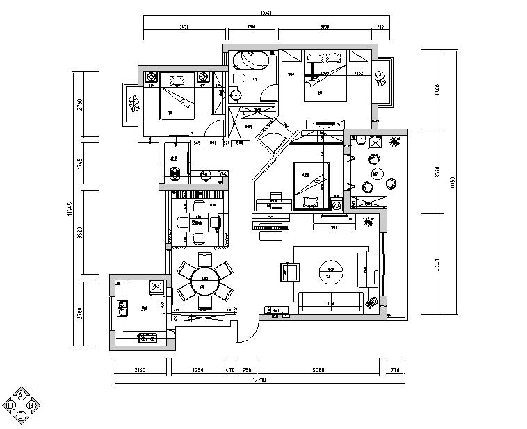 [湖北]后现代四居室住宅设计施工图(附效果图)