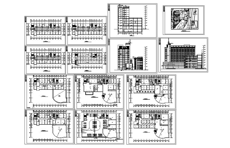 5套商务办公楼建筑设计施工图CAD-现代高层办公综合建筑设计施工图