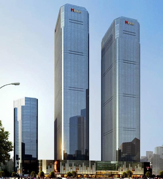 单元式幕墙工程施工组织设计-江东和谐广场项目整体效果图