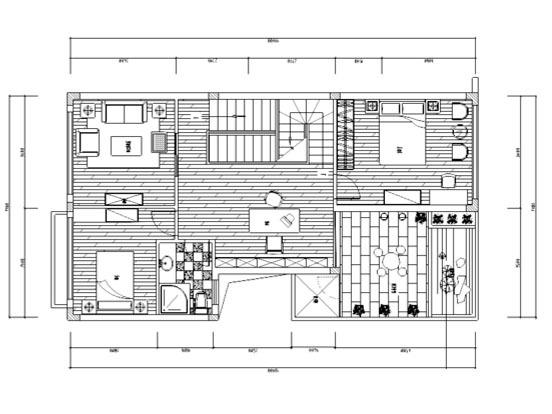 [北京]黑白无间瑞河耶那样板房平面图