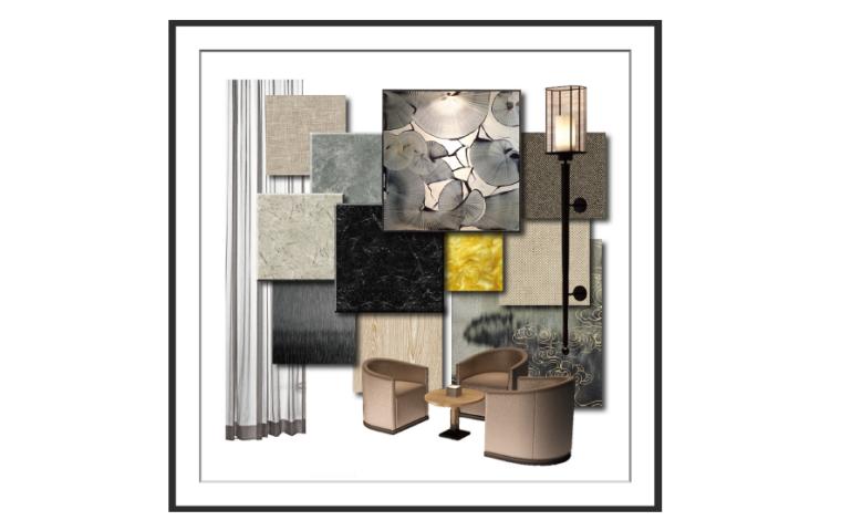 [重庆]现代风格售楼处概念方案设计施工图(附效果图+物料表)-材料样板意向