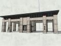 新中式风格居住小区入口大门景观SU模型