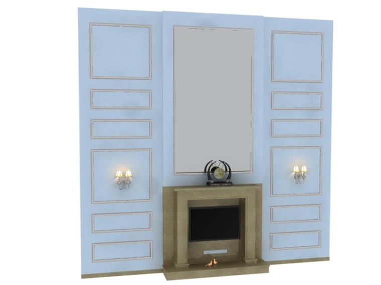 欧式简约电视墙3D模型下载