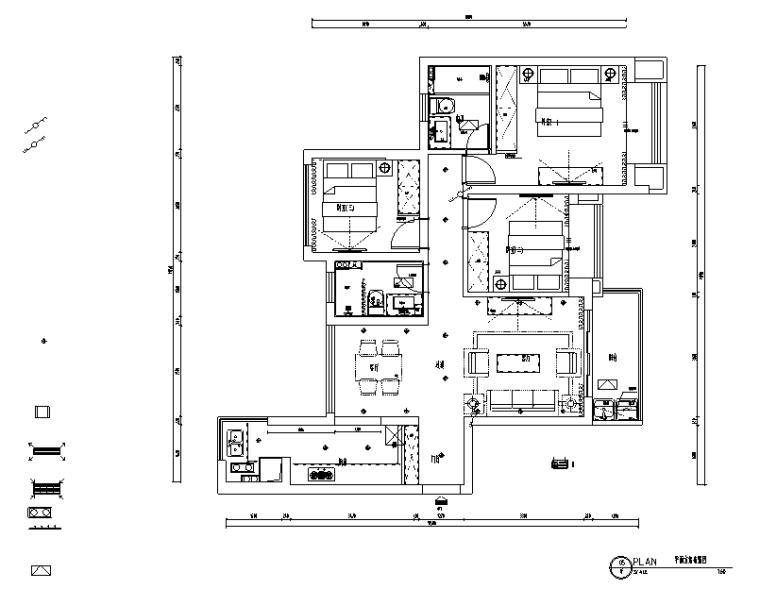 合景叠翠峰美式三居室样板房设计施工图(附效果图)
