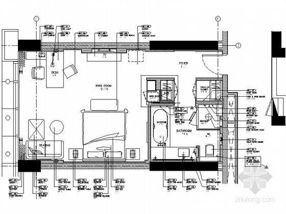 [北京]实力雄厚酒店高档现代风格标准客房室内装修施工图