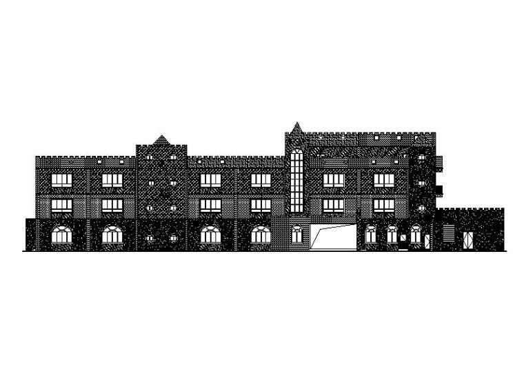 [广州]三层欧式风格涂料外墙镇级幼儿园建筑施工图