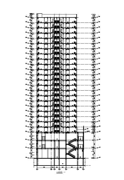 25层框架剪力墙结构综合楼建筑结构施工图-剖面图