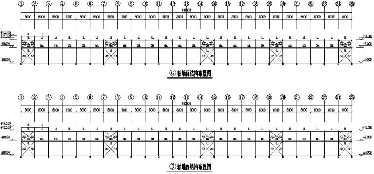 湖北门式刚架钢结构厂房施工图(CAD,12张)_2