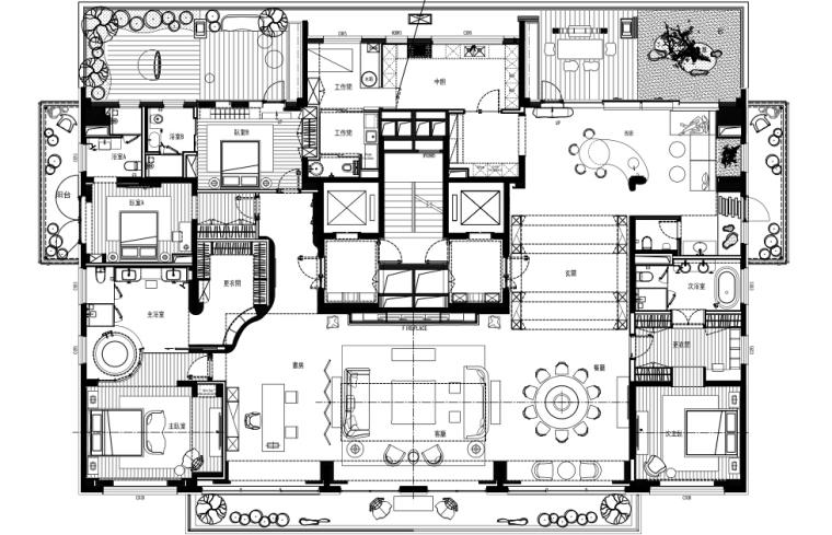 [北京]邱德光-万科如园顶层600㎡新中式风格豪宅样板间装修施工图+物料书+效果图