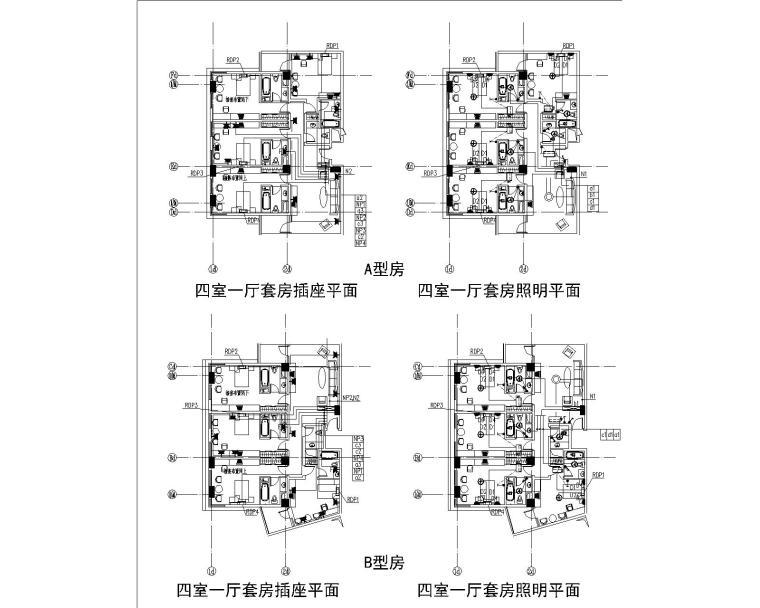 [上海]某学院楼及教学楼电气施工图纸(含动力、照明及变电所图纸)-客房照明及插座平面