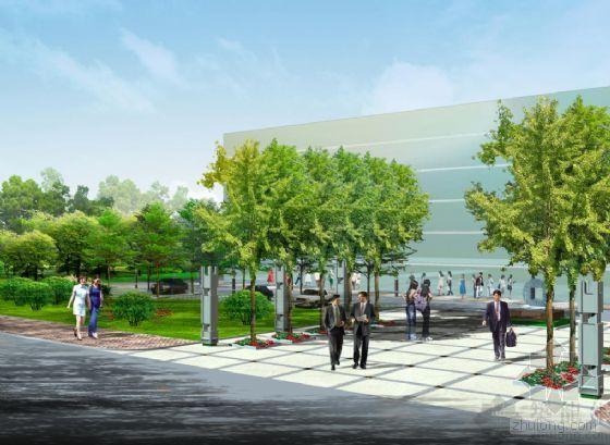 某办公楼广场入口景观效果图