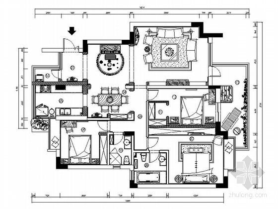 [北京]地中海风格中档小区3居室室内设计施工图