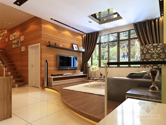 现代小户型客厅3D模型下载