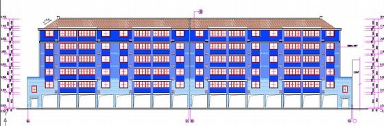 [安徽]三栋小区居民楼建设安装工程预算书(全套图纸软件文件)-南立面图