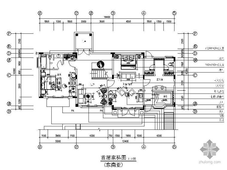 东南亚风格别墅施工图