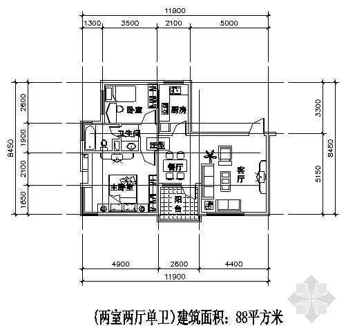 两室两厅一厨两卫88平方米