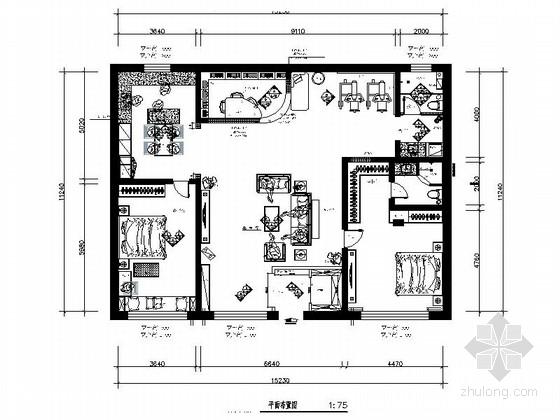 [南通]温馨浪漫田园风格两居室样板间装修施工图(含效果)