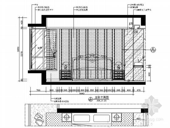 [广西]简欧风格四居室样板房装修图(含效果)主卧立面图