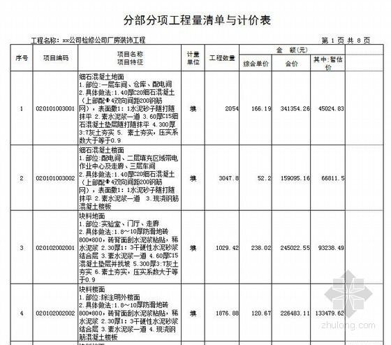 [山东]2013年电力公司厂房装饰工程量清单报价(附图纸)